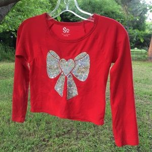 So  Red Sequenced Bow Shirt